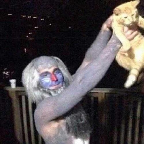 This wonderfully costumed man posing with his Simba.