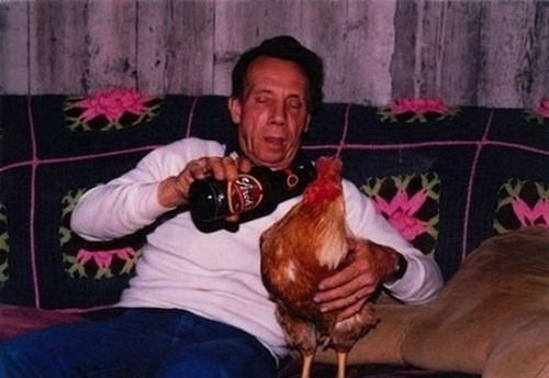 This guy giving his rooster a swig.