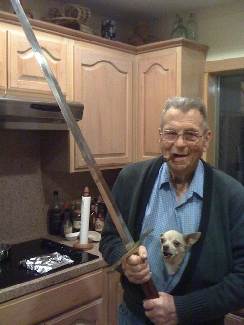 This sword-wielding grandpa and his chihuahua.