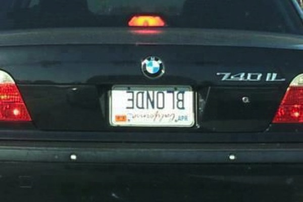 ironic license plates, funny license plates, blonde