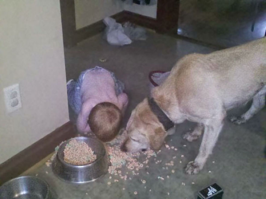kids-act-like-animals-eating-with-dog__605