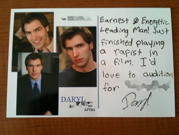 This resume from an actor who just finished a particularly challenging role: