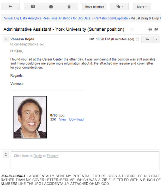 This resume that is accidentally just a picture of Nic Cage: