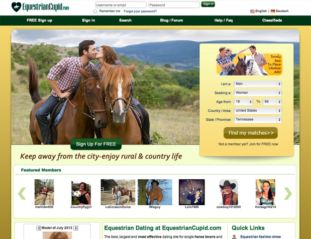 Motto: EquestrianCupid is an exclusive community for cowboys and cowgirls and equestrian singles to meet horseback-riding enthusiasts, discover uncharted trails, pursue the country lifestyle, and locate the best riding areas.