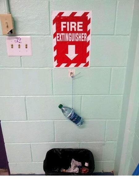 The person who made a replacement for their missing fire extinguisher.