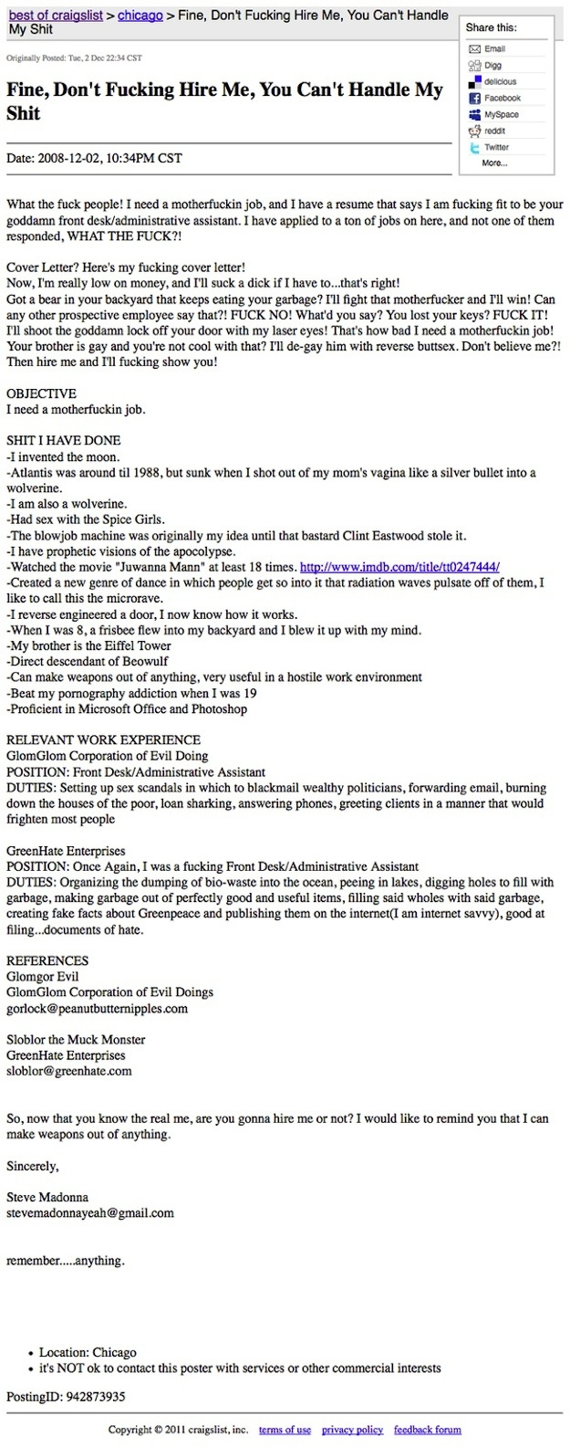This resume that YOU CAN'T EVEN HANDLE: