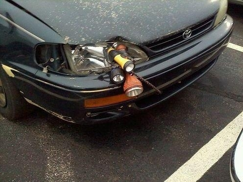 The careful driver who won't let a broken headlight ruin her night vision.