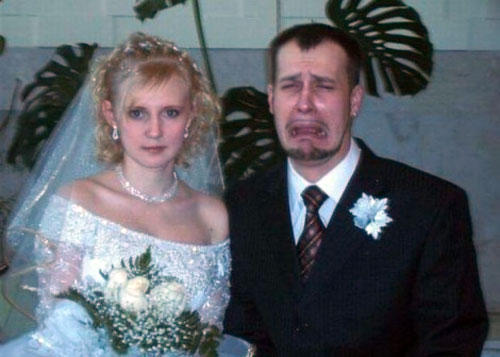 funny wtf wedding photo crying groom