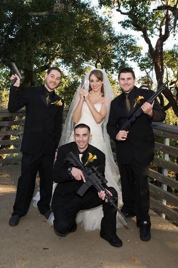 funny wtf wedding photo guns