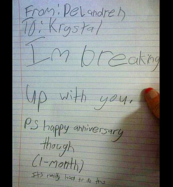 Break Up Letter From Kids, Funny Kid Break Up Letters